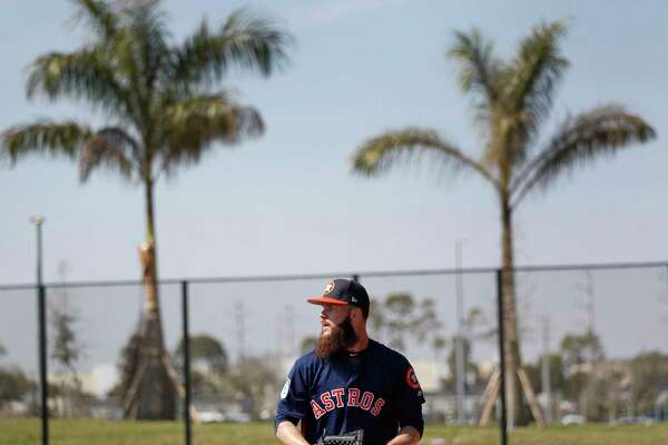 Houston Astros starting pitcher Dallas Keuchel throws off the mound during spring training at The Ballpark of the Palm Beaches, in West Palm Beach, Florida, Friday, February 17, 2017.