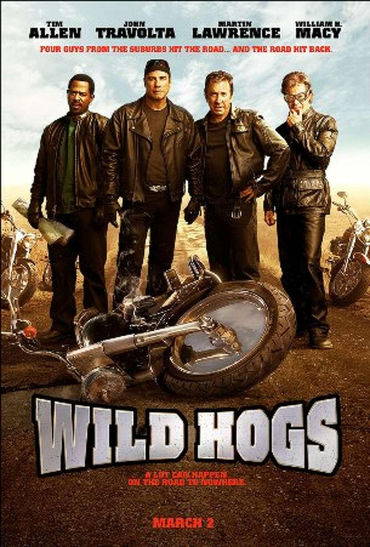 Wild Hogs (2007) Starring:Tim Allen, John Travolta, Martin Lawrence Audience Score: 61 Tomatometer: 14 Source: Rotten Tomatoes