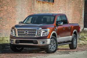 The all-new 2017 Nissan Titan half-ton pickup's standard 5.6-liter V8 dishes out nearly 400 lb.-ft. of torque. The crew cab is rated to tow up to 9,390 lbs.