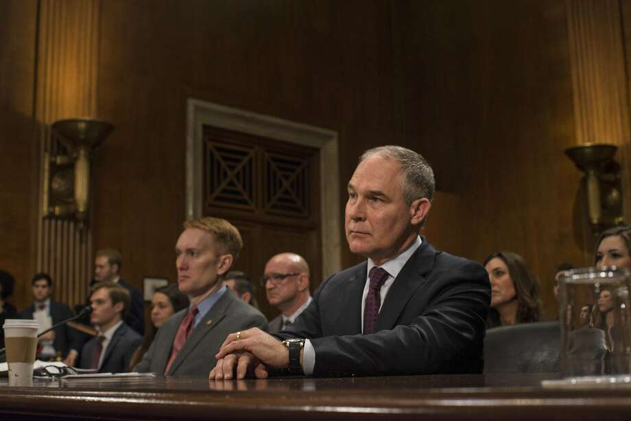 Scott Pruitt, President Donald Trump's nominee to lead the Environmental Protection Agency, was confirmed Friday by the U.S. Senate. He is pictured above during a confirmation hearing on Capitol Hill in Washington, Jan. 18, 2017. (Gabriella Demczuk/The New York Times) Photo: GABRIELLA DEMCZUK, NYT