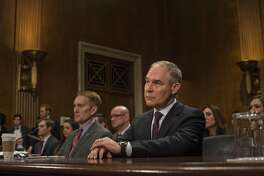 FILE -- Scott Pruitt, President Donald Trump's nominee to lead the Environmental Protection Agency, during a confirmation hearing on Capitol Hill in Washington, Jan. 18, 2017. The Senate on Feb. 17 confirmed Pruitt as head of the EPA, putting a seasoned legal opponent of the agency at the helm of Trump�s efforts to dismantle major regulations on climate change and clean water. (Gabriella Demczuk/The New York Times)