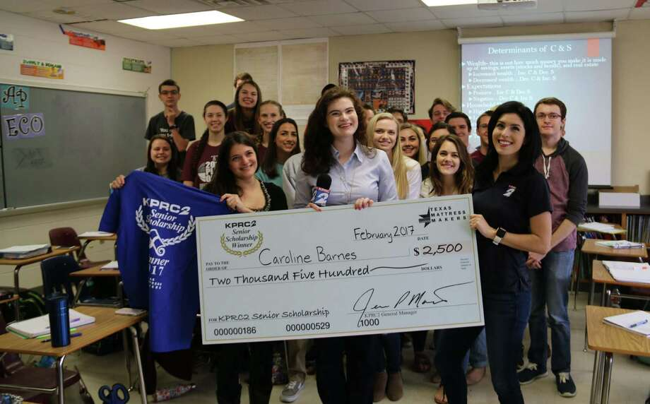 KPRC Channel 2 surprised Magnolia High School senior Caroline Barnes as last week's $2,500 scholarship winner. She was nominated by her college and career adviser, Brittany Kutter. Photo: Submitted