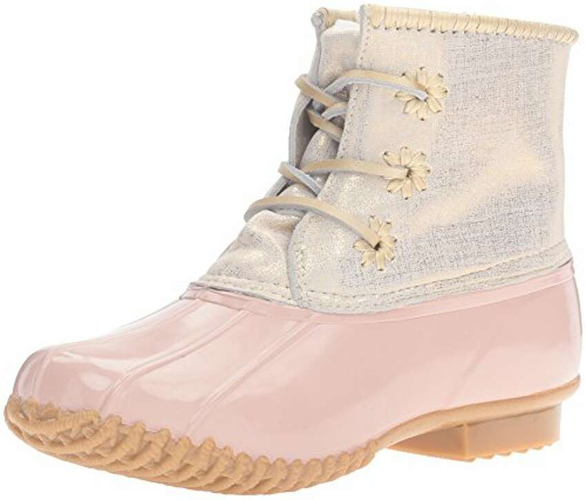 You can take on any spring mud puddles (or those late spring snows) in these Jack Rogers Chloe boots. They have all the practicality of a duck boot but with some sparkle. $118. Available at Wit's End in Clifton Park. witsendgiftique.com