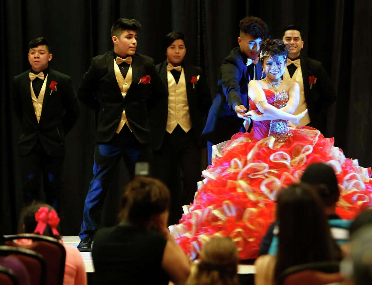 A dance company performs at the My 15 Expo last month where vendors could display their goods and services for quinceañera parties.