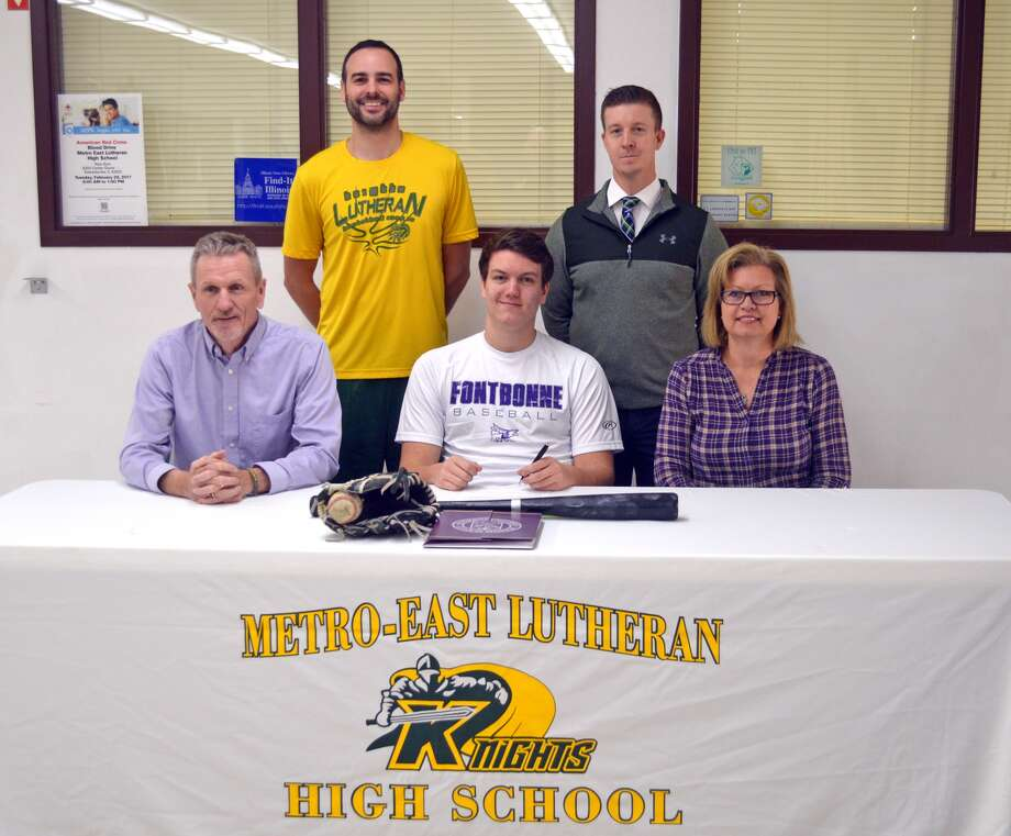 Metro-East Lutheran senior Jake Jump will play baseball for Fontbonne University. In the front row, from left to right, are father Jim Jump, Jake Jump and mother Susan Jump. In the back row, from left to right, are former MELHS head coach Joel Rempfer and new head coach Matt Pomerantz.