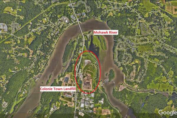Colonie Town Landfill is nestled inside a curve of the Mohawk River as seen in this Google Earth satellite image. (Cathleen F. Crowley/Times Union)