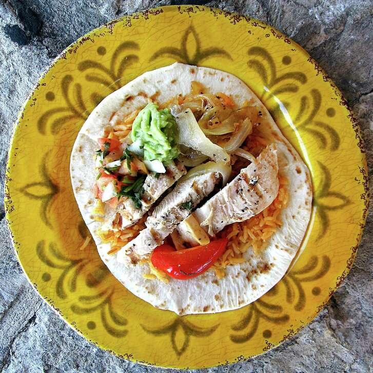 Chicken fajita taco on a handmade flour tortilla from Lisa's Mexican Restaurant on Bandera Road.
