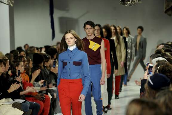 The Calvin Klein fashion collection is modeled during Fashion Week in New York, Friday, Feb. 10, 2017. (AP Photo/Diane Bondareff)