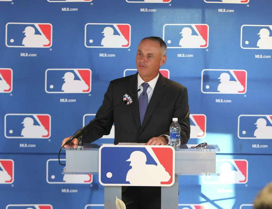 MLB Commissioner Rob Manfred takes questions from reporters at the Detroit Tigers' spring training complex on Thursday, Feb. 16, 2017, in Lakeland, Fla. Photo: Kirthmon F. Dozier, TNS / Detroit Free Press