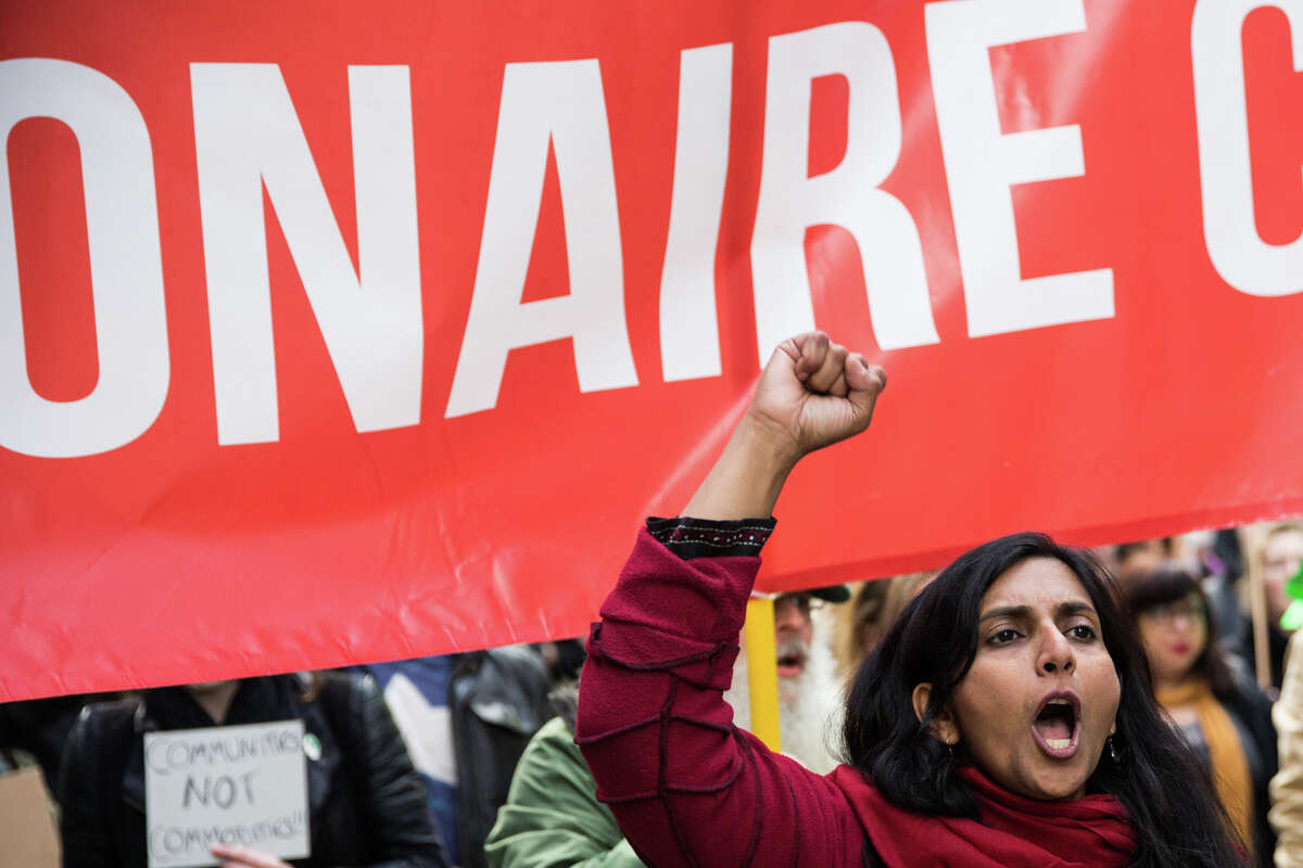 Socialist Seattle City Council member Kshama Sawant, outspoken advocate of a head tax on big employers. She ws booed by union Ironworkers when she showed up to protest at an Amazon construction site last week.