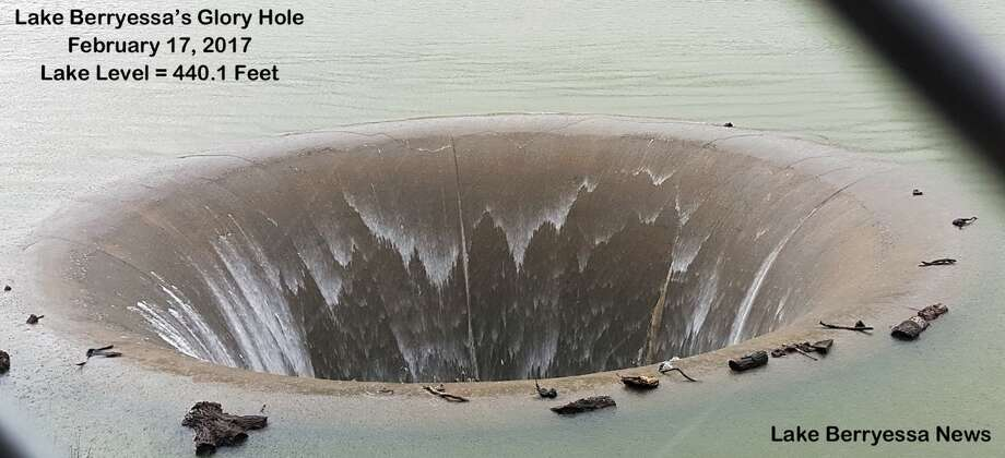Lake Berryessa at full capacity with the Glory Hole spilling over on Feb. 17, 2017 Photo: Peter Kilkus