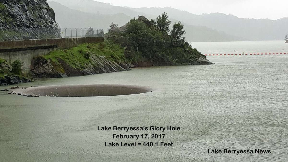 Lake Berryessa at full capacity with the Glory Hole spilling over on Feb. 17, 2017