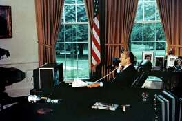 Depending on what kind of crisis President Donald Trump induces, the person to effectively respond will vary. But if trust in institutions ensues, President Gerald Ford could be the model. Here, he watches astronauts and cosmonauts on television as he talks to them from the Oval Office in 1975.