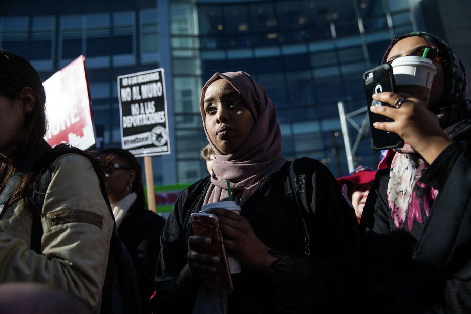Protesters gather to urge Amazon to follow up on its statements on recent immigration action by allowing all workers a fair and consistent prayer policy, at Amazon in Seattle on Friday, Feb. 17, 2017. Photo: GRANT HINDSLEY, SEATTLEPI.COM / SEATTLEPI.COM