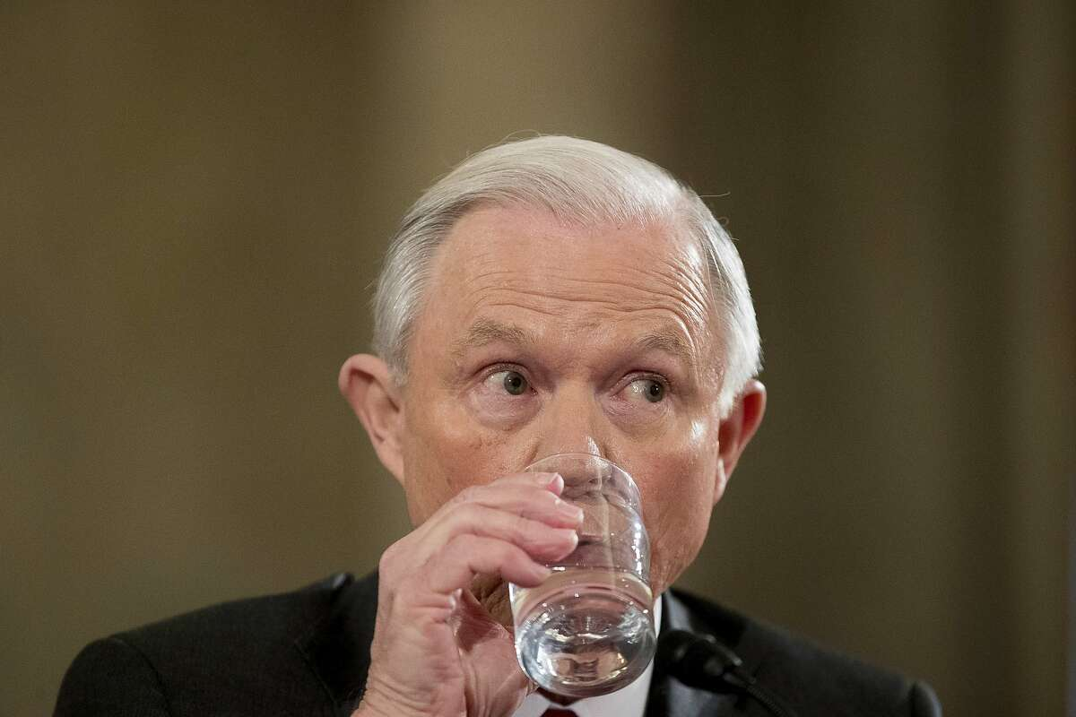 Attorney General-designate, Sen. Jeff Sessions, R-Ala. drinks water as he testifies on Capitol Hill in Washington, Tuesday, Jan. 10, 2017, at his confirmation hearing before the Senate Judiciary Committee'. (AP Photo/Andrew Harnik)