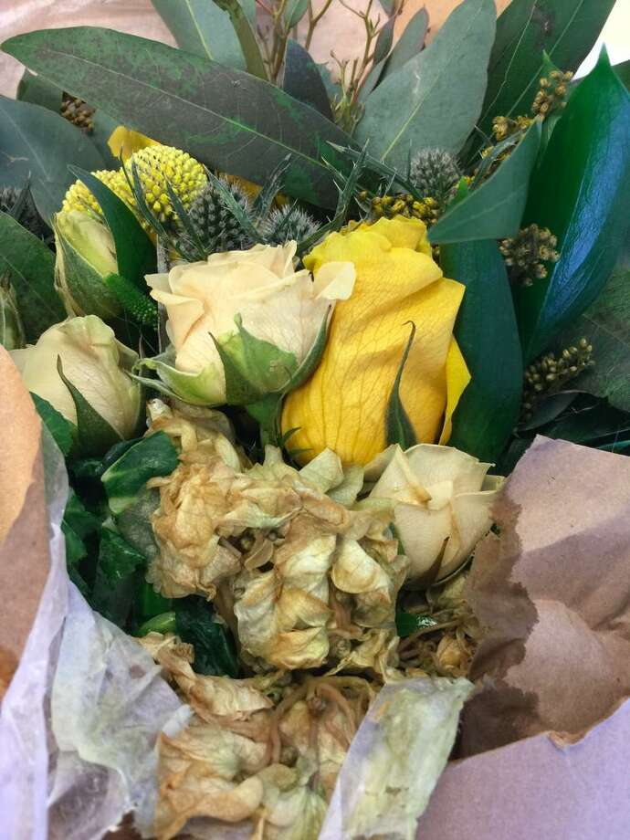 """The flowers received by Barron Lee's wife were brown and wilted. """"Not very appealing,"""" he said. Photo: Barron Lee"""