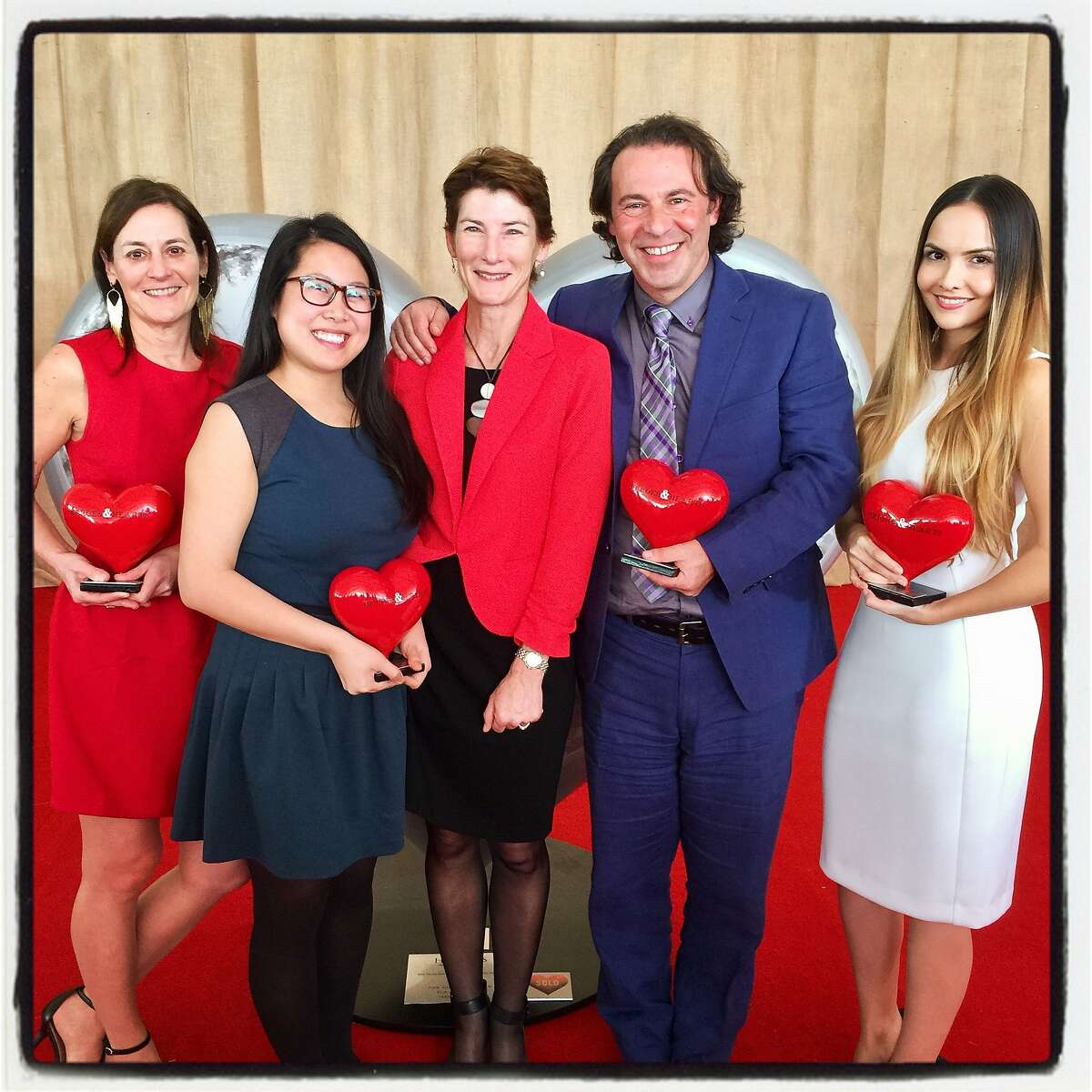 """ZSFG """"Heroes & Hearts"""" honorees (from left) Dr. Margaret Knudson, Jia Min Cheng, with ZSFG CEO Dr. Susan Ehrlich, Dean Schillinger and Anais Amaya. Feb. 16. 2017"""