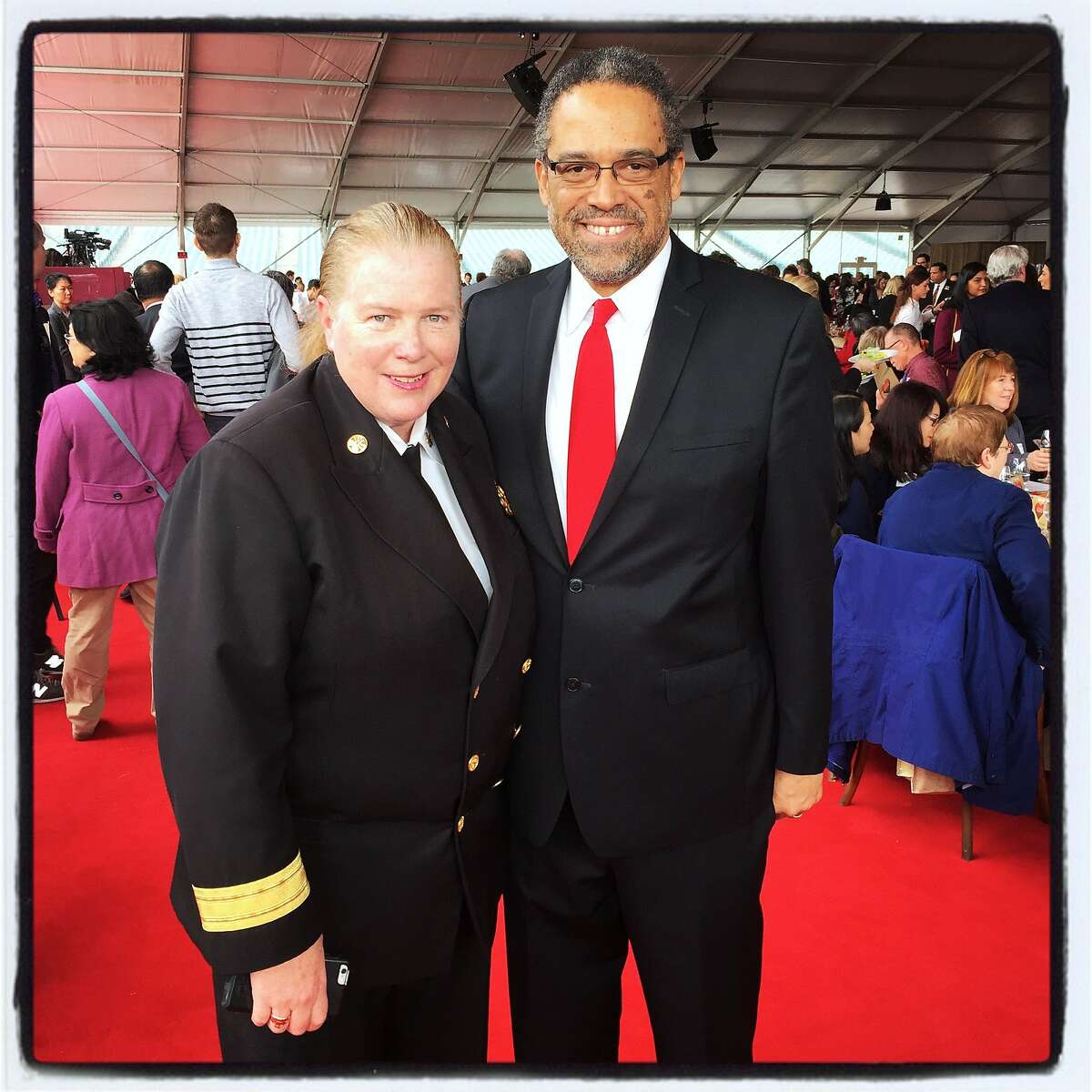 SFFD Chief Joanne Hayes-White and ZSFG Trauma surgeon Dr. Andre Campbell. Feb 16, 2017.