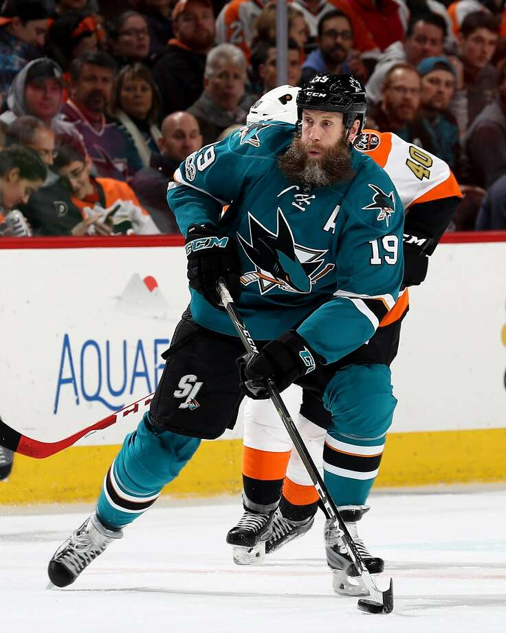Sharks center Joe Thornton could reach 1,000 assists against Boston, his former team. Photo: Elsa, Getty Images