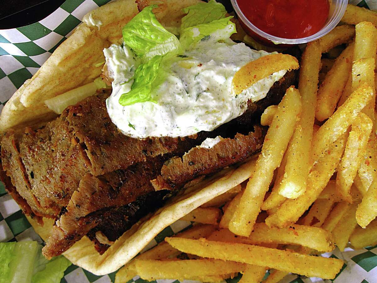 A beef and lamb gyro wrap with fries from Atlas Mediterranean Grill.