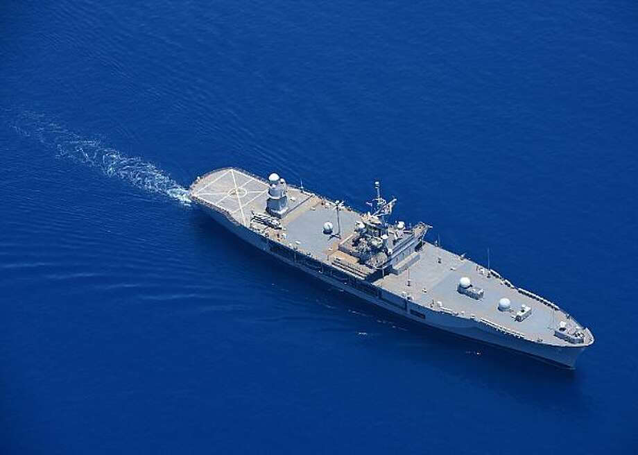 INDIAN OCEAN (March 31, 2016) The U.S. 7th Fleet flagship USS Blue Ridge (LCC 19), steams in the Indian Ocean while departing Colombo, Sri Lanka. Lt. Cmdr. Mario Herreraof Heloteswas the fleet operations and schedule officer aboard the Seventh Fleet's flagship Blue Ridgefrom 2007 to 2009. Herrera was arrested and charged with accepting gifts, travel, sex from prostitutes and expensive meals from a company run by a corrupe contractor that gouged the Navy -- and ultimately U.S. taxpayers -- for multiple millions of dollars.(U.S. Navy photo by Mass Communication Specialist 3rd Class Jordan KirkJohnson/ RELEASED)
