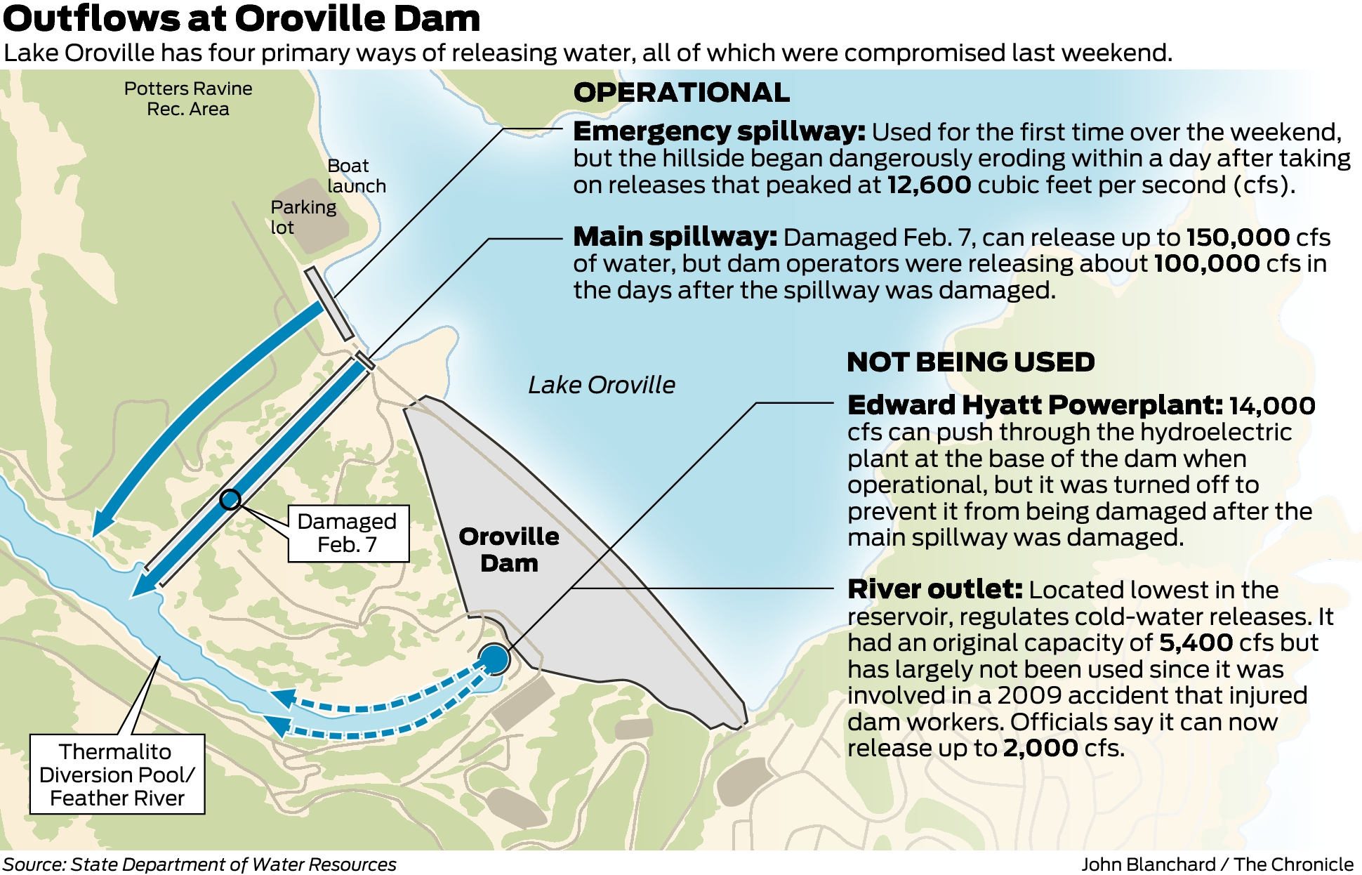 Map Of California Oroville Dam.Releasing Water At Oroville Dam A Lingering Problem Sfchronicle Com