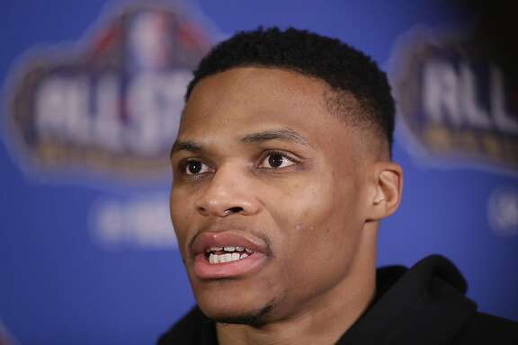 NEW ORLEANS, LA - FEBRUARY 17:  Russell Westbrook #0 of the Oklahoma City Thunder speaks with the media during media availability for the 2017 NBA All-Star Game at The Ritz-Carlton New Orleans on February 17, 2017 in New Orleans, Louisiana.  (Photo by Ronald Martinez/Getty Images)
