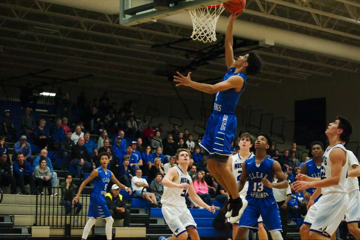 Clear Springs' Jalen Kinney (1) puts up a shot against Friendswood Friday, Feb. 17 at Dickinson high School.
