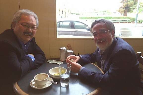 Political rivals Mayor Ed Lee and Supervisor Aaron Peskin sit down for coffee at Mario's Bohemian Cigar Store Cafe in North Beach.