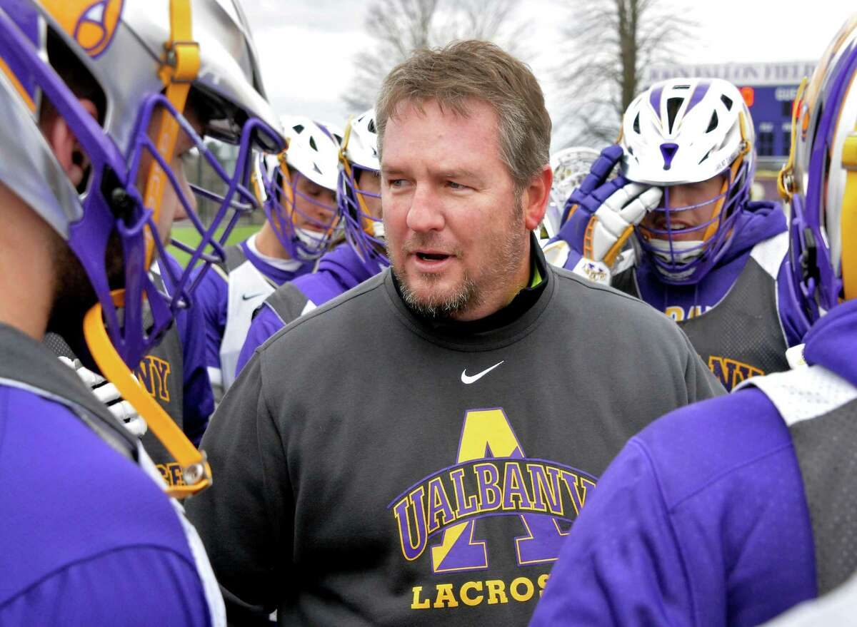 UAlbany Head Coach Scott Marr with players during lacrosse practice Wednesday Feb. 17, 2016 in Albany, NY. (John Carl D'Annibale / Times Union)