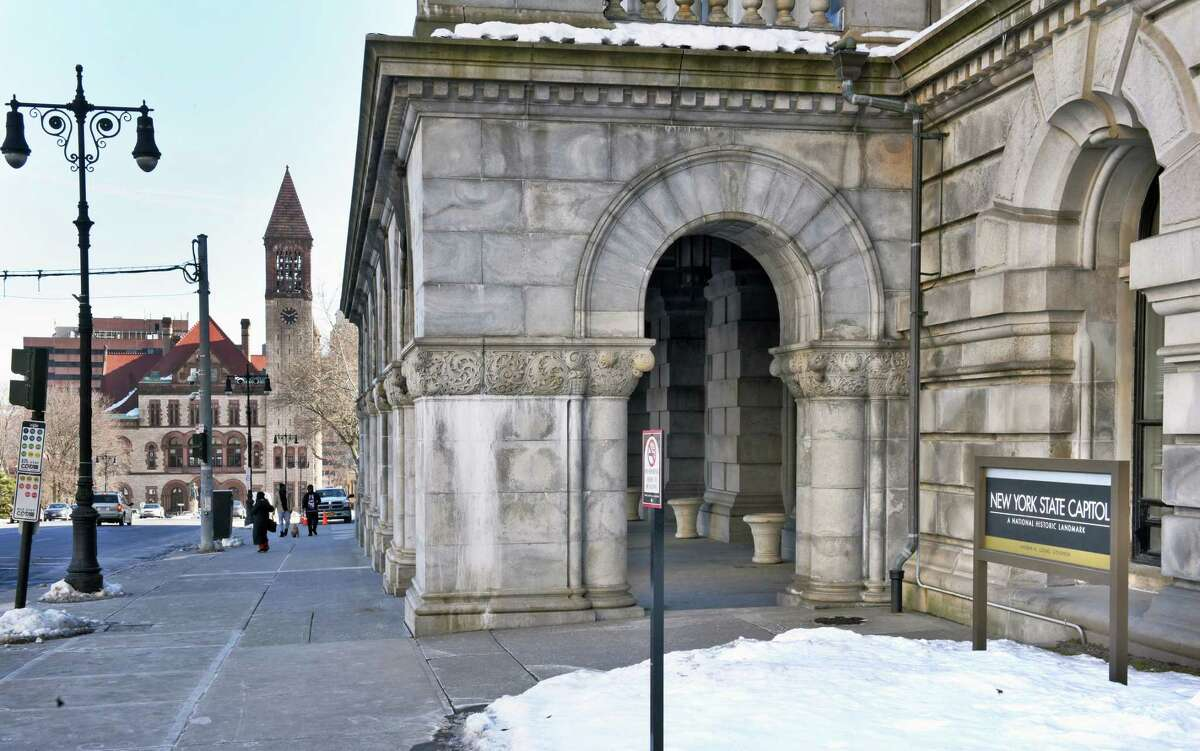 Washington Avenue entrance to the Capitol with City Hall at left Friday Feb. 17, 2017 in Albany, NY. (John Carl D'Annibale / Times Union)
