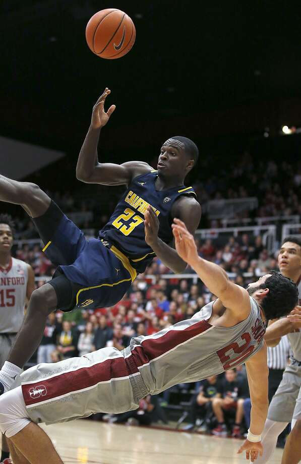 Jabari Bird (23) collides with Stanford center Josh Sharma (20) during the second half of the Cardinal's win at Maples Pavilion. Photo: Tony Avelar, Associated Press