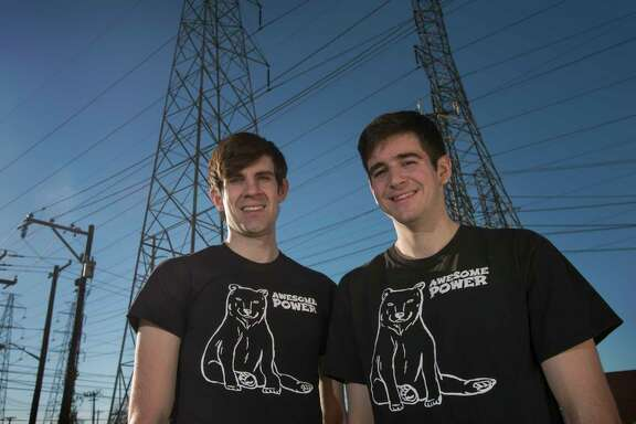 Zach Korman, left, and Mike Hays created the website www.awesomepowertexas.com to help people shop for cheap power in Texas. (Robert W. Hart photo)