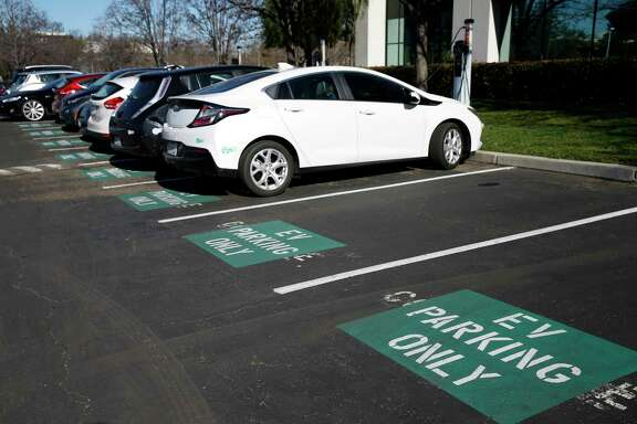 Charging stations are available for electric vehicles at the U.S. headquarters of NIO in San Jose, Calif.