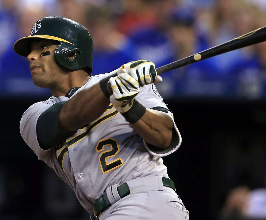 FILE - In this Sept. 15, 2016, file photo, Oakland Athletics' Khris Davis hits a two-run double off Kansas City Royals starting pitcher Edinson Volquez during the fourth inning of a baseball game at Kauffman Stadium in Kansas City, Mo. Davis has asked an arbitration panel for a $5 million salary this season, and the Oakland Athletics argued the outfielder should be paid $4.65 million. The sides appeared Tuesday, Jan. 31, 2017, before arbitrators Mark Irvings, Gil Vernon, Mark Burstein, who are expected to issue their decision Wednesday. (AP Photo/Orlin Wagner, File) Photo: Orlin Wagner, Associated Press