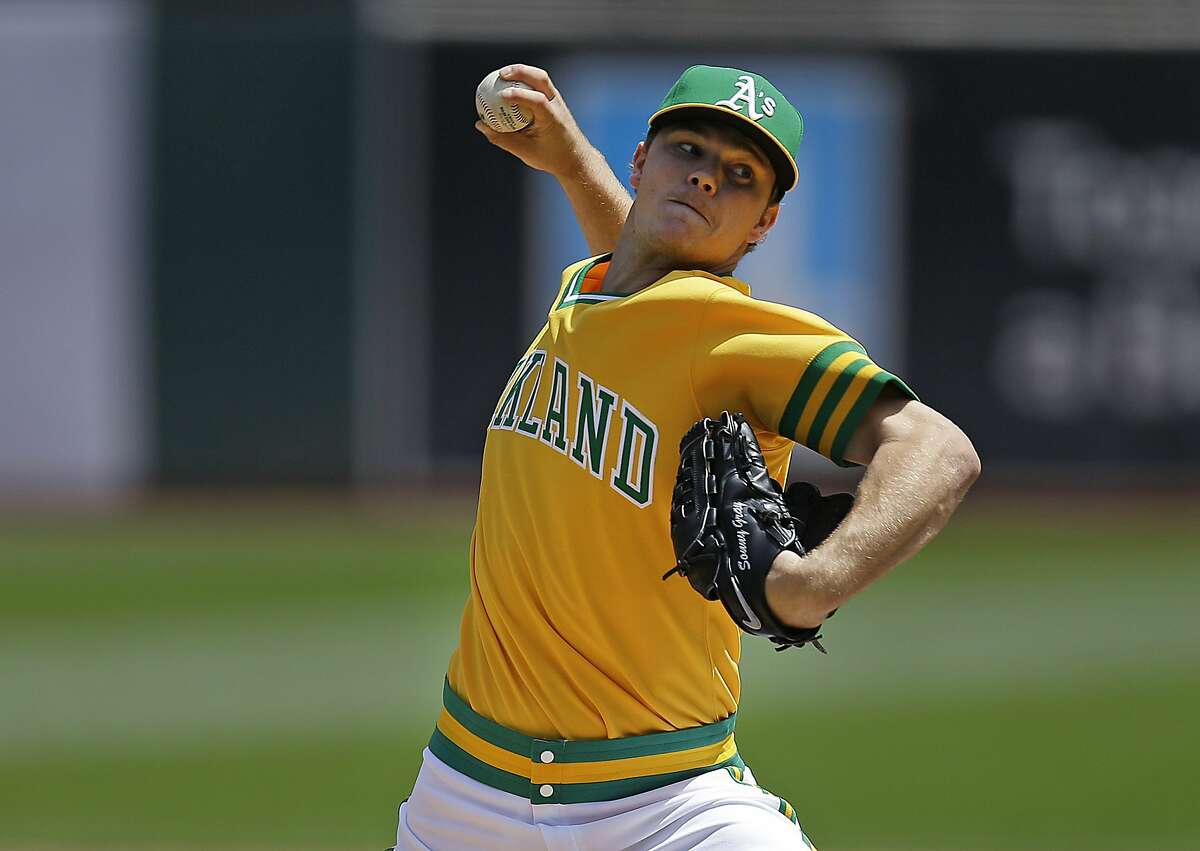 FILE - In this Aug. 6, 2016, file photo, Oakland Athletics pitcher Sonny Gray works against the Chicago Cubs in the first inning of a baseball game in Oakland, Calif. Gray is starting fresh, ready to be Oakland�s reliable ace again. (AP Photo/Ben Margot, File)