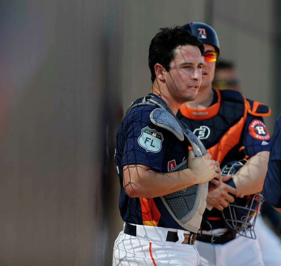 Houston Astros catcher Garrett Stubbs waits for pitchers to throw during spring training at The Ballpark of the Palm Beaches, in West Palm Beach, Florida, Friday, February 17, 2017. Photo: Karen Warren, Houston Chronicle / 2017 Houston Chronicle
