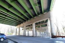 """The underside of the I-95 bridge over the Byram River as seen from South Water Street on the Greenwich side of the river that is the border for Connecticut and New York states, Greenwich, Conn., Friday, Feb. 17, 2017. According to an American Road and Transportation Builders Association report, the I-95 bridge over the Byram River is """"structurally deficient."""""""