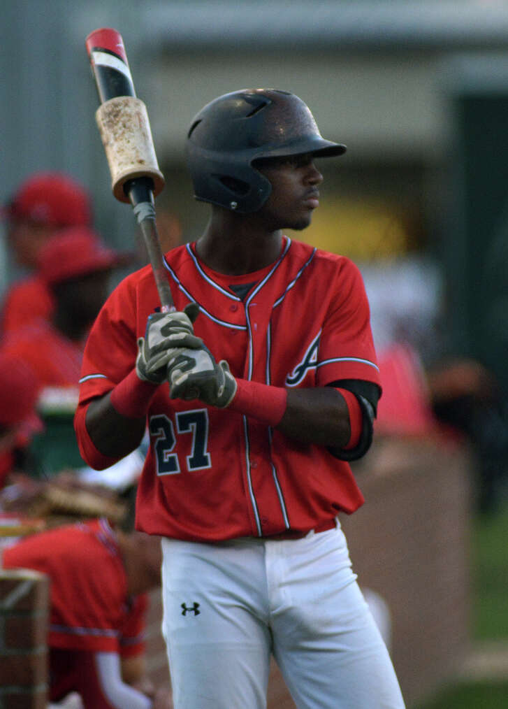 Atascocita shortstop Alerick Soularie waits on deck for his at bat against Kingwood during their District 16-6A matchup at Atascocita High School on April 22, 2016.