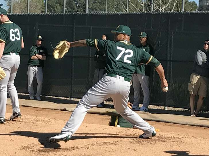 Frankie Montas, vying for the fifth spot in the A's rotation, throws a bullpen session on the first day of camp.
