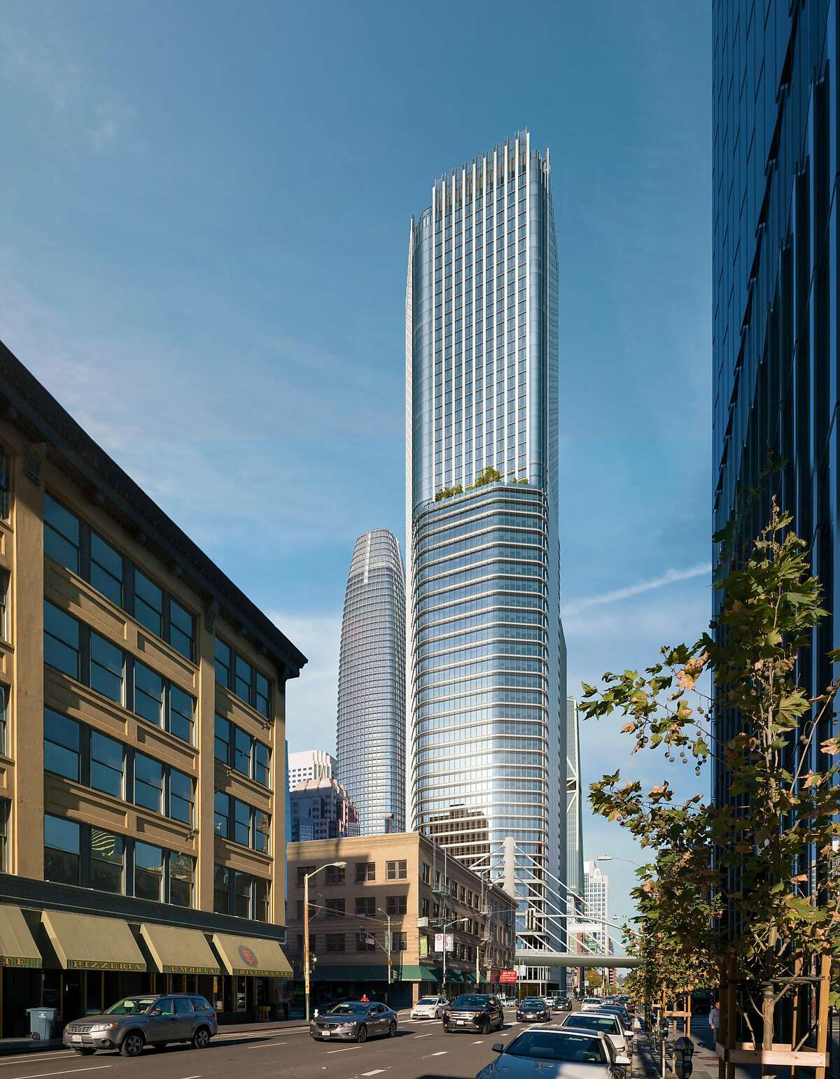 At 800 feet, the 62-story tower proposed at 542-550 Howard Street would be one of San Francisco's �tallest skyscrapers. The design by Pelli Clarke Pelli architects includes shops and restaurants along Natoma Street, an alley running alongside the new Transbay Transit Center.