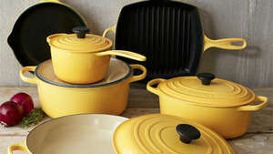 Le Creuset Signature 10-Piece Set   $1,860    BUY NOW     Whether you're setting up a new kitchen or adding versatility to your existing collection, this all-in-one 10-piece set from iconic French  brand Le Creuset is the   crème de la crème    of cast iron cookware.  Complete with a French oven with lid, 9-inch skillet, and 3 1/2-quart braiser, this set makes an unforgettable wedding or  housewarming gift .     More:    Shop These 15 Sleek Cookware Sets