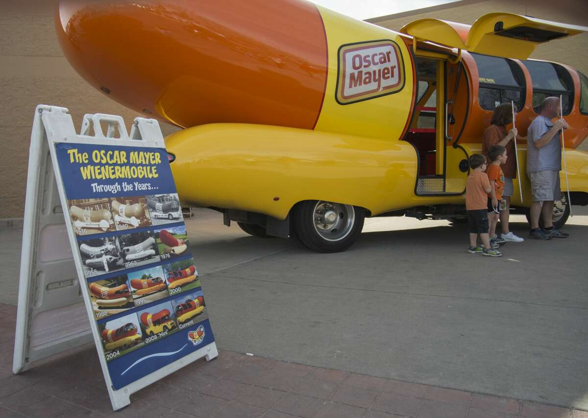 The Oscar Mayer Wienermobile, traveling America's roads since 1936, stopped at the northside WalMart Saturday 02-18-17 in Midland. Tim Fischer/Reporter-Telegram