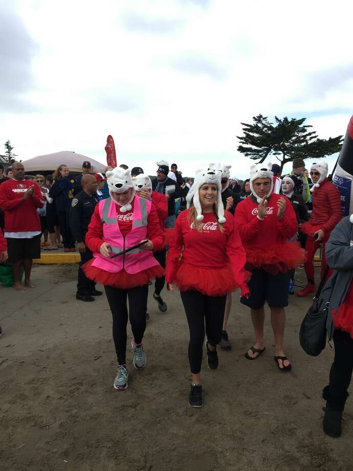 The annual Polar Plunge took place at the Little Marina Green in San Francisco on Feb. 18. The 3k/5k run benefits the Northern California Special Olympics and ends with a chilly dip in the Bay. Costumes are recommended. Photo: Michelle Robertson/SFGATE