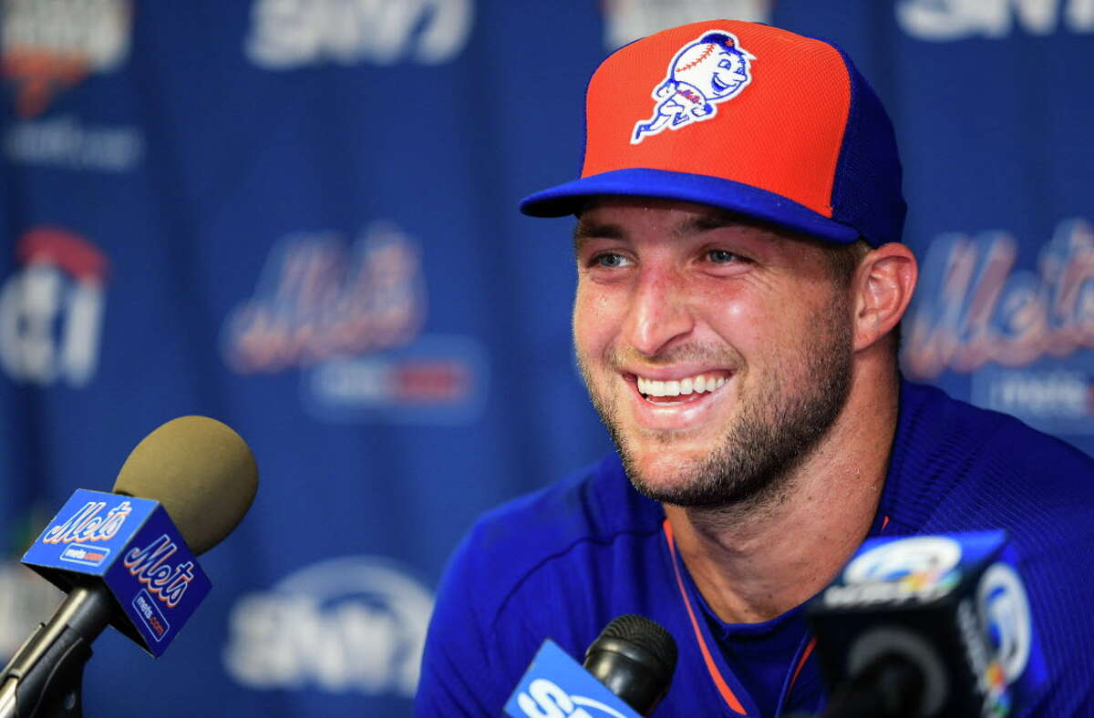 PORT ST. LUCIE, FL - SEPTEMBER 20: Tim Tebow #15 of the New York Mets speaks at a press conference after a work out at an instructional league day at Tradition Field on September 20, 2016 in Port St. Lucie, Florida. (Photo by Rob Foldy/Getty Images) ORG XMIT: 670093987
