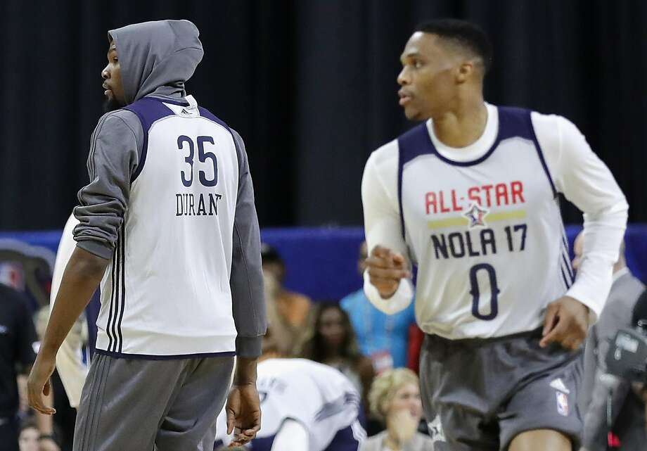 NEW ORLEANS, LA - FEBRUARY 18:  Kevin Durant #35 of the Golden State Warriors (L) and Russell Westbrook #0 of the Oklahoma City Thunder attend practice for the 2017 NBA All-Star Game at the Mercedes-Benz Superdome on February 18, 2017 in New Orleans, Louisiana.  (Photo by Ronald Martinez/Getty Images) Photo: Ronald Martinez, Getty Images