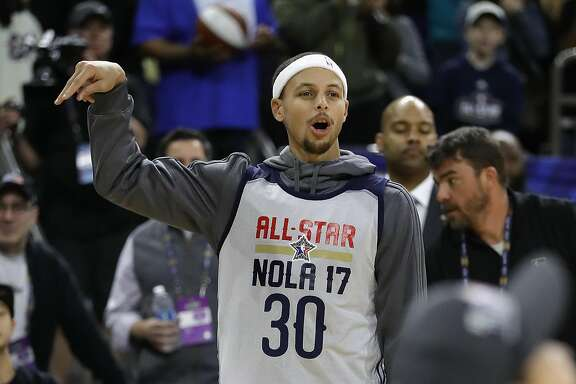 NEW ORLEANS, LA - FEBRUARY 18:  Stephen Curry #30 of the Golden State Warriors reacts during practice for the 2017 NBA All-Star Game at the Mercedes-Benz Superdome on February 18, 2017 in New Orleans, Louisiana.  (Photo by Ronald Martinez/Getty Images)
