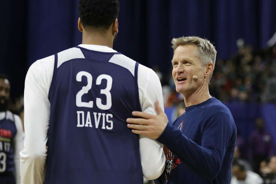 Head coach Steve Kerr of the Golden State Warriors greets Anthony Davis #23 of the New Orleans Pelicans during practice for the 2017 NBA All-Star Game at the Mercedes-Benz Superdome on February 18, 2017 in New Orleans, Louisiana.  (Photo by Ronald Martinez/Getty Images) Photo: Ronald Martinez, Getty Images