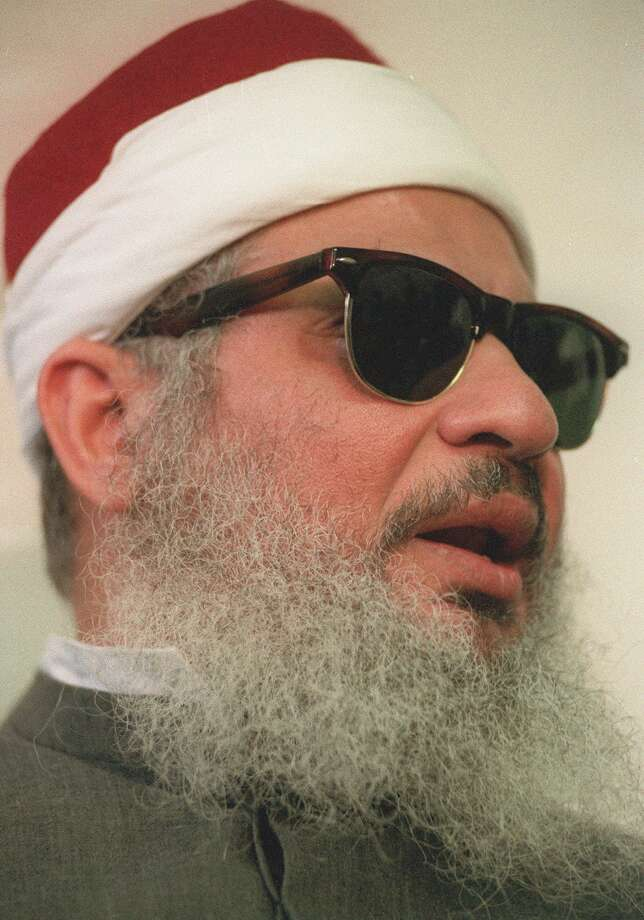 FILE - This April 6, 1993 file photo shows Sheik Omar Abdel-Rahman in New York.   Kenneth McKoy of the Federal Correction Complex in Butner, N.C., said Abdel-Rahman died Saturday, Feb. 18, 2017, after a long battle with diabetes and coronary artery disease. Abdel-Rahman was sentenced to life in prison after his 1995 conviction for his advisory role in a plot to blow up landmarks, including the United Nations, and several bridges and tunnels.  (AP Photo/ Mark Lennihan, file) Photo: MARK LENNIHAN, STF / AP1993