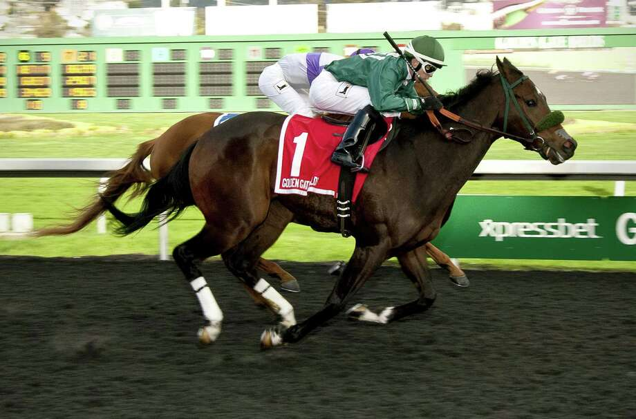Zakaroff (front), ridden by jockey Kyle Frey, was the first local horse to win Northern California's richest race since 2008. Photo: William Vassar / William Vassar / William Vassar / handout provided to the San Francisco Chronicle